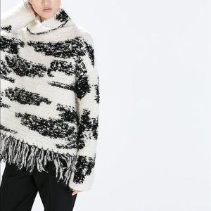 Zara Knit Fringe Poncho Sweater Oversized M